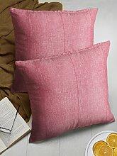 Store Indya, Satz von 2 Baumwolle Wurf Kissenhüllen Kissenbezügen fur Sofa Entwurf kopfkissenbezug Zierkissenbezüge (Rosa)