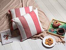 Store Indya, Satz von 2 Baumwolle Wurf Kissenhüllen Kissenbezügen fur Sofa Entwurf Gestreiftes Entwurf Zierkissenbezüge kopfkissenbezug (Weiß 2)
