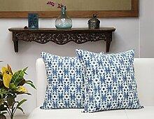 Store Indya, Satz von 2 Baumwolle Wurf Kissenhüllen Kissenbezügen fur Sofa Entwurf Zierkissenbezüge kopfkissenbezug Zubehor (Block gedruckt blau)