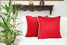 Store Indya, Satz von 2 Baumwolle Wurf Kissenhüllen Kissenbezügen fur Sofa Entwurf Zierkissenbezüge kopfkissenbezug (Rot)