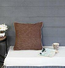 Store Indya, Satz von 2 Baumwolle Wurf Kissenhüllen Kissenbezügen Zierkissenbezüge kopfkissenbezug fur Sofa Entwurf (Braun 2)