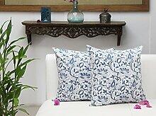 Store Indya, Set von 2 Baumwolle Kissenbezügen Zierkissenbezüge Blumen bedruckt werfen Kissenhüllen kopfkissenbezug hause Sofa Dekor