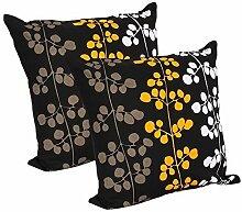 Store Indya, Set von 2 schwarzen Baumwoll Kissenhüllen Kissenbezügen für Sofa Bett kopfkissenbezug Falle mit Blumenentwurfs Zierkissenbezüge Bett Dekor