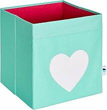 STORE.IT 671671 Ordnungsbox,Aufbewahrungsbox, Storage Box, Regalfach, mint mit weiߟem Herz - passend für Expedit/ Kallax