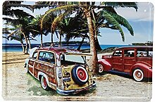 Strand Autoblechschild Weinlese Metallplakette Poster Bar Hauptwanddekor