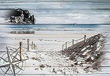 Strand bretter fototapete wandbild vlies natur