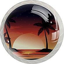 Strand-Sonnenuntergang-Design Küchenknopf