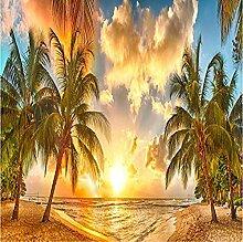 Strand Sonnenuntergang Meer 3D Fototapete Wandbild