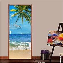 Strand und Kokosnuss Tür Aufkleber Mode Kunst
