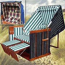 Strandkorb für Balkon + Strandkorb Abdeckung winterfest + 4x Kissen - grün-gestreifter Stoff - schwarzes Polyrattan - Strandkorb Nordsee