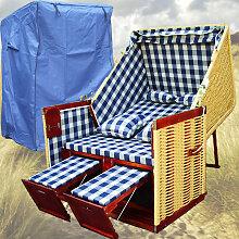 Strandkorb Rattan # 2-Sitzer # XL # blau-weiss #