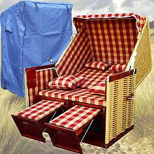Strandkorb Scharbeutz # 2-Sitzer # XL # rot-weiss
