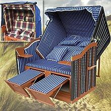 Strandkorb Sylt XL günstig kaufen für Garten u. Balkon + winterfeste Strandkorbhülle - blau mit schwarzem Polyrattan - Ostsee Strandkorb