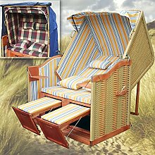 Strandkorb Sylt XL + winterfester Strandkorb Schutzhülle & 4x Kissen - gelb blau gestreift - naturfarbiges Polyrattan - Liegestuhl Gartenliege