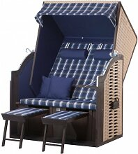 Strandkorb Trendy by deVries TWIN Compact PE nature - Dessin 352 Strandkörbe inkl. Premium Schutzhülle