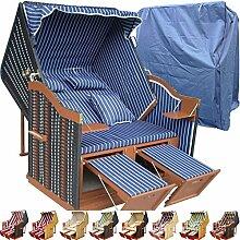 Strandkorb Usedom günstig kaufen für Garten u. Balkon inkl. Luxus Strandkorbhülle - blau mit schwarzem Polyrattan und braunem Holz, Form Ostsee Strandkorb