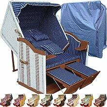 Strandkorb weiß blau günstig für Balkon inkl. Luxus Strandkorb Hülle - blau mit weißem Polyrattan und braunem Holz, Form Ostsee Strandkorb