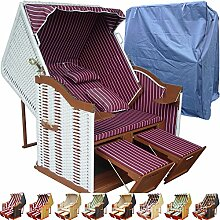 Strandkorb weiß XXL günstig für Balkon und Garten rot inkl. Luxus Strandkorb Schutzhülle - rot mit weißem Polyrattan und braunem Holz, Form Ostsee Strandkorb