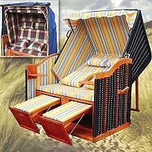 Strandkorb XL + Schutzhülle + 4x Kissen - Liegestuhl Polyrattan Gartenliege Gartenstuhl Strandstuhl Sylt Ostsee Volllieger - gelb gestreif