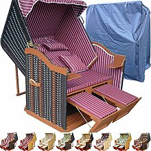 Strandkorb XXL günstig für Balkon und Garten rot inkl. Luxus Strandkorb Schutzhülle - rot mit schwarzem Polyrattan und braunem Holz, Form Ostsee Strandkorb