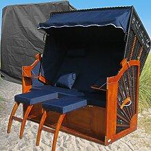 Strandkorb XXL Ostsee blau - schwarz kaufen # 2 Bezüge ( Grundbezug + abnehm- und waschbarer Wechselbezug ) # inkl. Schutzhülle