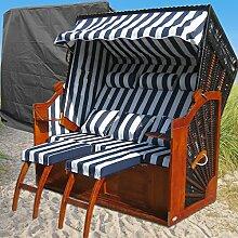 Strandkorb XXXL Ostsee blau - schwarz - gestreift kaufen # inkl. Schutzhülle # wechselbare Bezüge