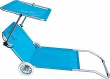 Strandstuhl. Mit Rollen Trolley Hochlehner mit Position Meer Strand Pool blau