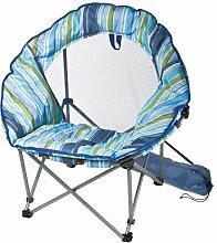 Strandstuhl rund mit gestreiftem Sitzbezug aus Polyester, Farbe: blau