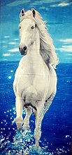 Strandtuch Handtuch Badetuch Pferd Weiß Schimmel