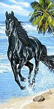 Strandtuch Pferd schwarz Galopp Hat Strand