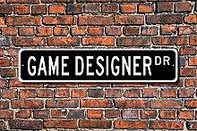 Stree Schild Spiels Schild Video Spiele Gamer Designer der Spiele Metall Aluminium Schild, Dekoration