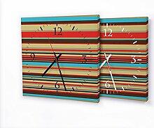 Streifen - Moderne Wanduhr mit Fotodruck auf Leinwand Keilrahmen   Fotouhr Bilderuhr Motivuhr Küchenuhr modern hochwertig Quarz   Variante:30 cm x 30 cm mit schwarzen Zeigern