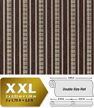 Streifen Tapete Vliestapete EDEM 640-94 Textilstruktur mit Karomuster XXL Tapete braun bronze silber 10,65 qm