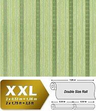 Streifen Tapete Vliestapete EDEM 640-95 Textilstruktur mit Karomuster XXL Tapete grün olivegrün silber 10,65 qm