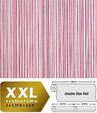 Streifen Tapete Vliestapete EDEM 673-96 XXL Designer Kult-Tapete rot-violett weinrot weiß dezente silberne 10,65 qm