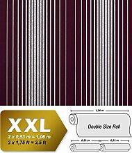 Streifen Tapete Vliestapete EDEM 973-35 XXL Design Tapete gestreifte Objekttapete violett aubergine silber grau 10,65 qm
