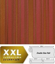 Streifen Tapete Vliestapete EDEM 980-35 Hochwertige XXL Tapete gestreiftes Struktur-Dekor erdbeer-rot goldbraun 10,65 qm