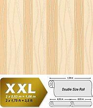 Streifen Vliestapete EDEM 955-21 XXL Tapete hochwertige geprägte Designer-Tapete beige braun creme gold 10,65 qm