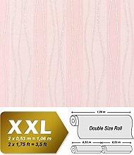 Streifen Vliestapete EDEM 955-25 XXL Tapete hochwertige geprägte Designer Tapete rosa creme silber 10,65 qm