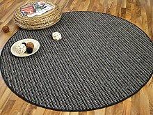 Streifenberber Teppich Marta Anthrazit Grau Rund Streifen in 7 Größen