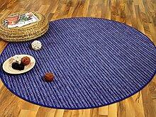 Streifenberber Teppich Marta Blau Beige Rund Streifen in 7 Größen