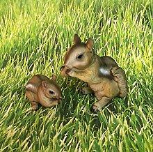 Streifenhörnchen Mutter mit Kind Dekofigur Deko Tierfigur