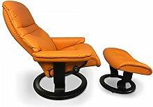 Stressless Sessel Sunrise M (mit Hocker) in Clementine-Orange Ausstellungsstück