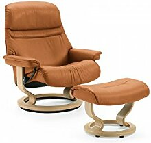 Stressless® Sunrise Sessel mit Hocker (M) Braun günstig