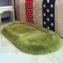 Stretch Seide Oval Teppich Wohnzimmer Schlafzimmer Teppich Küche Balkon Teppich , green , 70*140cm