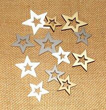 Streudeko 'Sterne' aus Holz 36er-Set