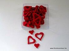 Streudeko, Tischdeko, Hochzeitsdeko, Filz-Herzsortiment offen/geschlossen, 3,5/2cm, 48 Stück, ro