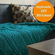 Strick Set für gestrickte Decke Tucson: Strickanleitung + Strickwolle (26 Knäuel) + Rundstricknadel (6,0 x 80) + selfmade Label - Farben: ➧Smaragd (26x))