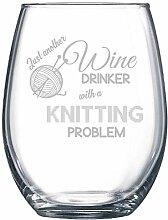 Strickgarn, witziges Geschenk, Weinglas ohne Stiel