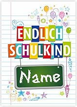 Striefchen Banner zur Einschulung - Endlich Schulkind! - mit Namen des Kindes 50x70 cm Posterpapier